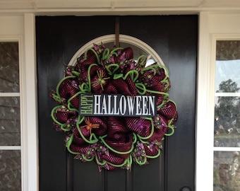 Deco Mesh Halloween Wreath, Happy Halloween Wreath, Whimsical Mesh Fall Wreath