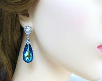 Bermuda Blue Swarovski Crystal Teardrop Earrings Wedding Jewelry Bridesmaid Gift Bridal Earrings Blue Earrings (E002)