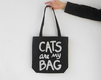 Cat Lady Gift, CATS are my BAG tote, back to school book bag, gift for her, Black Silver, crazy cat lady for sister, funny tote bag, canvas