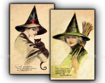 VICTORIAN WITCHES - Large Digital Printable Images - Set of Antique Witches from Vintage Halloween Postcards, Single Image Transfers, 8 x 12