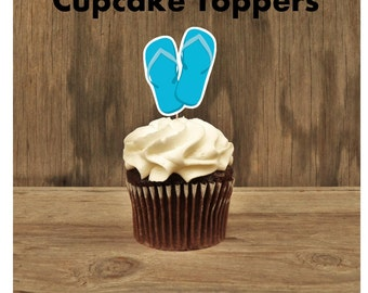 Beach Party - Beach Party Collection, Set of 12 Blue Flip Flop Cupcake Toppers by The Birthday House