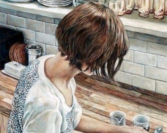 Not This Spoon - Print - Fine Art Painting Reproduction - Kitchen Fashion Realism Coffee Painting