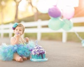 Baby Girls Birthday Tutu Dress Outfit  Mermaid in Purple Birthday Tutu Skirt