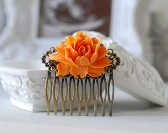 Tangerine Orange Wedding Hair Comb. Orange Wedding Bridal Hair Comb. Vintage Style Antique Brass Filigree Hair Comb, Bridesmaid Gift