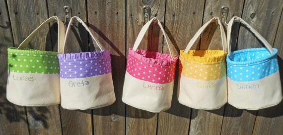 Personalized easter basket handmade in polka dot pink blue - Custom made easter baskets ...