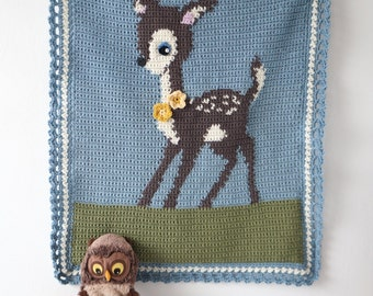 Deer Crochet Blanket Baby Afghan Pattern Woodland Theme