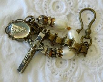 MERCURY GLASS INFANT vintage repurposed assemblage jewelry handmade bracelet crucifix baroque pearls charm bookchain atelier paris