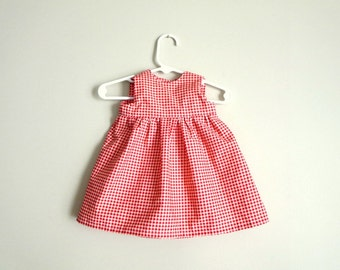 Baby Dress Red Gingham sizes 0-3, 3-6, or 6-12  Months