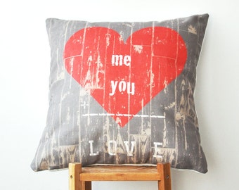 "ON SALE Valentine Pillow, Decorative Love Pillows, Throw Pillow, Cushion Cover, Accent Pillow, Pillow Case, Cushion Cover 16"" x 16"""