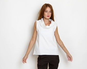 White top, summer sleeveless shirt,  Wide Cowl Neck, Open Back shirt, loose fit, geometric shirt, summer top, minimal, short top, white tank