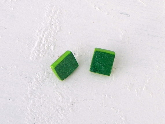Emerald Green Wooden Earrings from Feath & Kee