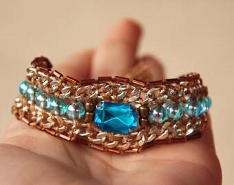 Chain bracelet, Brown beaded bracelet, Statement  jewelry, Turquoise crystal, Friendship bracelet, Ethnic Tassel, Body woven chunky chain