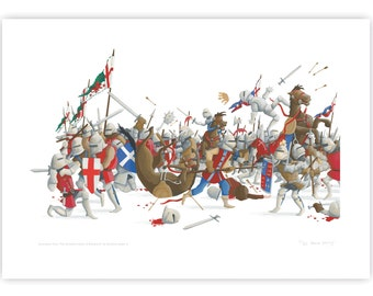 Print: Battle of Bosworth 1485 – Depicting the last moments of King Richard III in battle against Henry Tudor.
