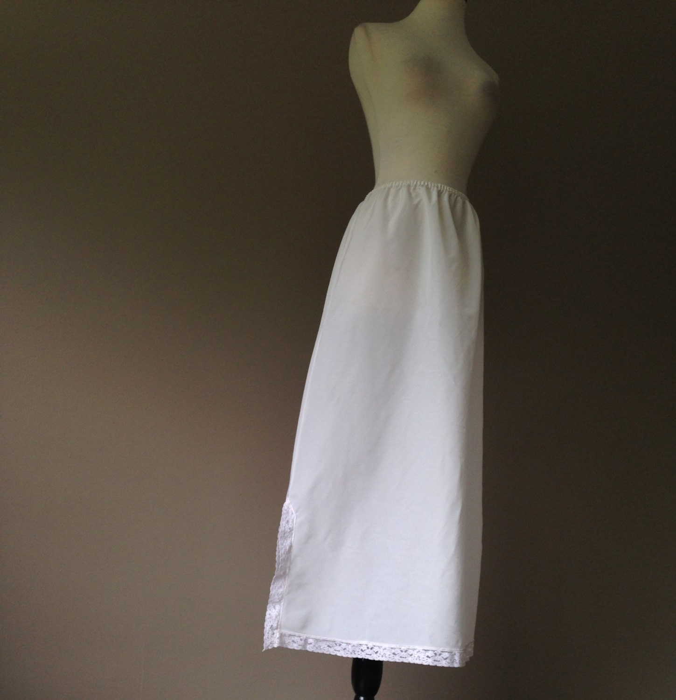 2x maxi slip skirt lingeire white taffeta