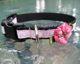 Cute Pink Dog Collar, XS Dog Collar, Flower dog collar, dog collar for girl, female dog collar, toy dog collar, cute pink dog collar