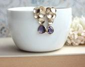 Purple Glass Grape Drop Earrings. Purple Egg Plant Gold Framed Glass Earrings. Honey Comb. Bridesmaid Gift. Purple Wedding. Fall, Mom, Sis