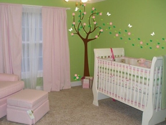 Spring Tree Nursery Vinyl Decal with Flowers and Leaves