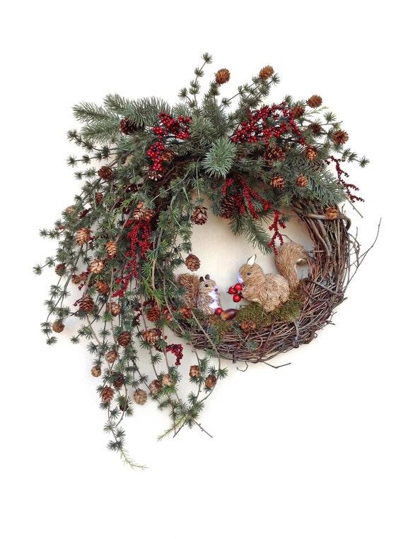 Ardilla oto o corona para puerta guirnalda de navidad - Coronas de navidad para puertas ...
