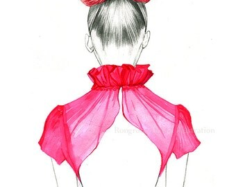 Fashion illustration , Fashion wall art, Fashion drawing, Girly wall art, Dressing room art, Beauty lounge art
