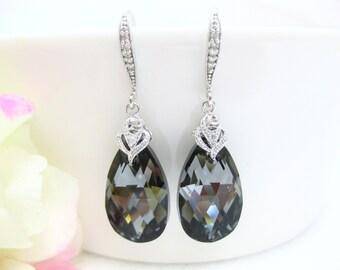 Silver Night Black Teardrop Earrings Swarovski Crystal Teardrop Bridesmaid Gift Bridal Drop Earrings Charcoal Earrings Black Earrings (E009)