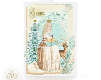 Christmas card, Christmas tree in a winter woodland with deer, snow queen, holiday card, blank inside