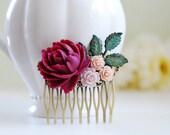 Purple Maroon Plum Rose Pink Rose Verdigris Blue Brass Leaf Hair Comb, Flower Collage Hair Comb, Wedding Bridal Shabby Chic Hair Accessory