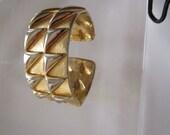 Signed Hattie Carnegie Gold Tone Spiked Hinge Bracelet