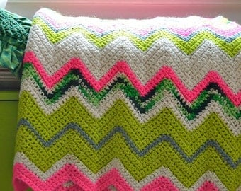 Psychedelic Zigzag Afghan Wool Neon Pink Lime Green White & Sage Chevron Ripple Blanket