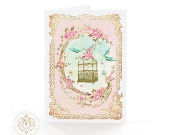 Vintage bird cage, greeting card, Paris, bird cage, birthday card, pink card, friendship card, blue birds, card for her, romantic card