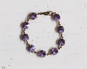 Amethyst RHINESTONE Bracelet February Birthstone Lavender Crystal Tennis Bracelet Purple Bridal