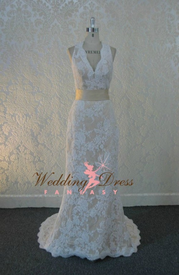 Gorgeous Lace Wedding Dress With Keyhole By WeddingDressFantasy