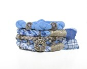 Upcycled Fabric Stacking Bracelet for Women, Good Luck Charm Bangles, Blue Beige, Boho Cuff, Eco Friendly Jewelry, For Her, Gift Under 35