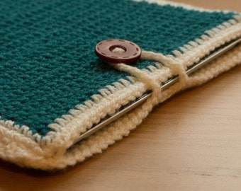 Handmade Crocheted Teal / Turquoise Ipad / Tablet Sleeve Cover with Button Detail