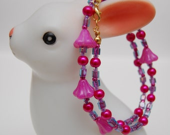 Fairy Princess Bellflower Glass Beaded Necklace in Pink, Lilac and Green by Bird House Beads
