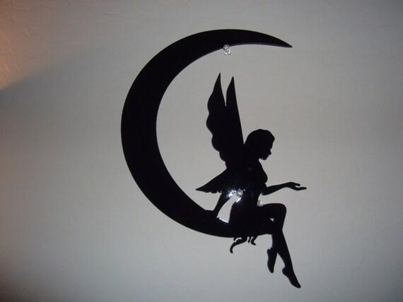 Plasma Cut Fairy Sitting On The Moon Black By Mancavemetalworks