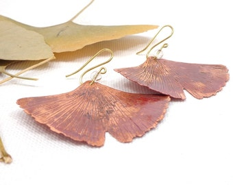 Copper ginkgo earrings, elvish earrings, vintage earrings, copper earrings, leaf earrings, wedding jewelry, birthday gift, bridal jewelry