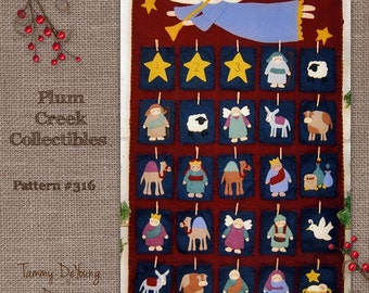 Nativity Advent Calendar Pattern. Religious Christmas Decoration, Wool felt Applique pattern, Woolfelt embroidery, felt manager scene,