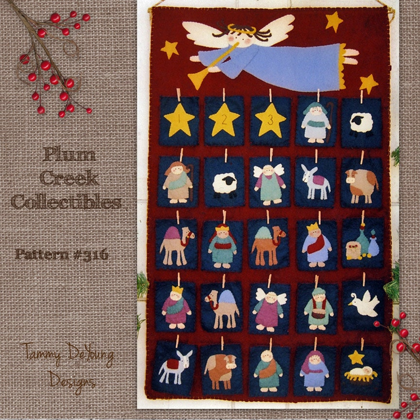 Nativity Advent Calendar Pattern Religious Christmas