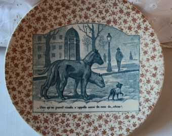 French Sarraguemes Pottery Plate/Plaque circa 1860!....Dog/canine humerous Theme!
