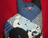KITTY Pillow, Blue, Cream & Black CAT Pillow, Plush KITTEN Pillow, Fun Cat Pillow, Scrappy Cat, Patchwork Calico Cat, Stuffed Cat