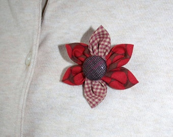 Red and Brown Fabric Flower Brooch, Flower Pin - Handmade Fabric Flower
