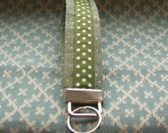 Green Polka Dot Ribbon Key Chain, Wristloop Keychain, Wristlet Key Chain