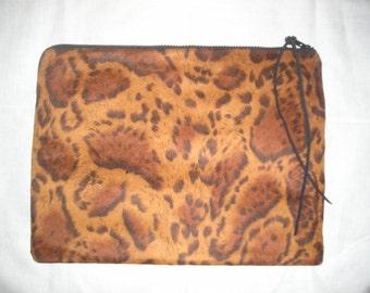 Faux Suede Cheetah or Ocelot Clutch Bag