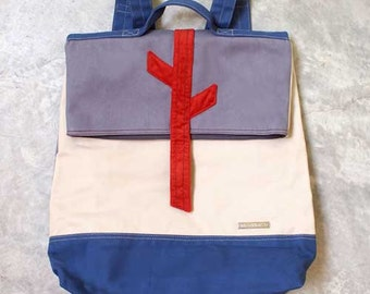SALE - Backpack - In The Woods Backpack ( Gray Beige Blue )
