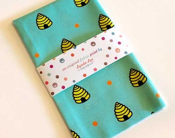 Dotty Beehive Fabric FAT QUARTERS, beehive fabric, fat quarter fabric, beehive print, turquoise color fabric, quilting fabric, cotton fabric