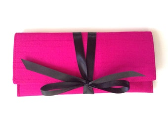 Hot pink clutch in silk with black bow, the ALEXIS Clutch // a slim formal neon envelope clutch bag begonia