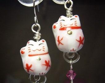 cute luck beckoning Maneki Neko Cat earrings, kawaii, id1250224, jewelry, jewellery, wire earrings, sterling silver hook option
