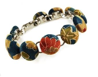 Kimono Bracelet, Handmade Button Bracelet in Blue earth tones