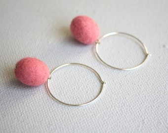 Felted Egg Earrings - Pink on Small Hoop