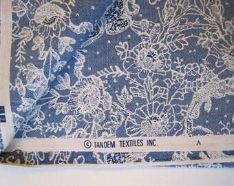 Blue Vintage Lace Toile Screenprint Fabric 2 yds